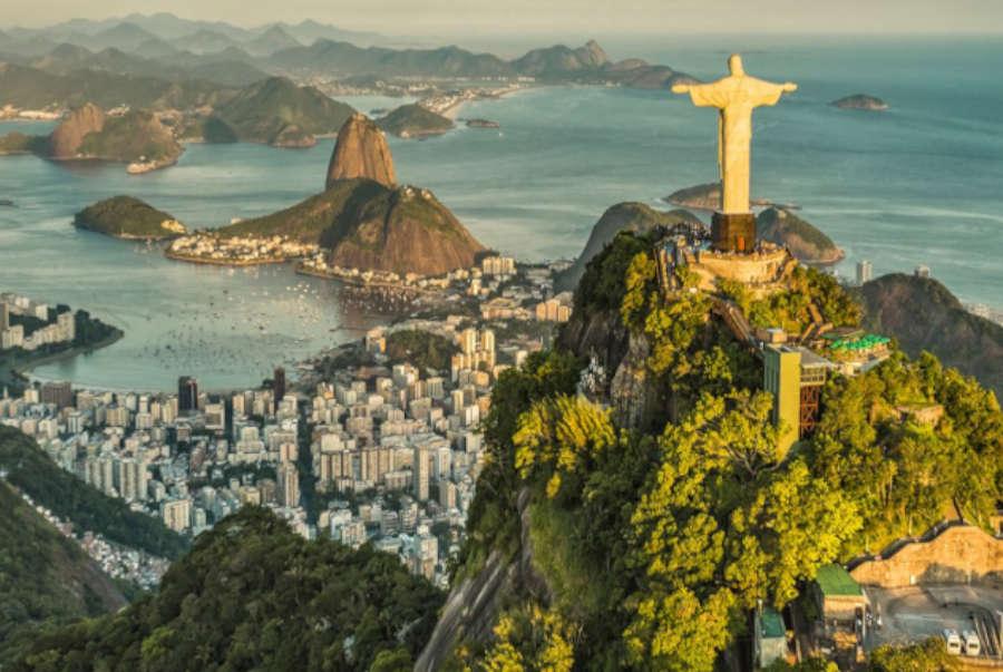 View of Christ the Redeemer in the city of Sertaozinho, Sao Paulo, Brazil