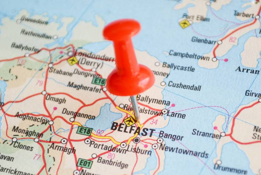 A map of Norther Ireland and Belfast.
