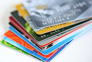 A picture of many different credit cards.