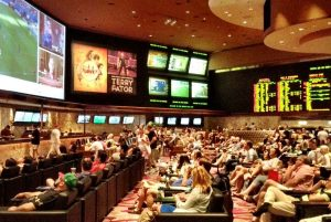 Sports betting lounge and gamers.