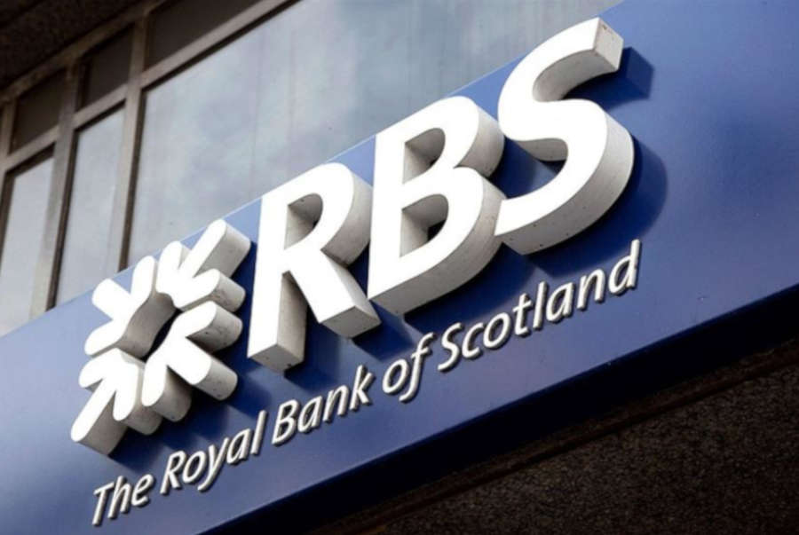 RBS's official logo over the entrance of the bank.