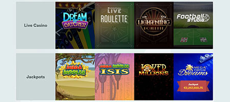 Casino games available in instant play.