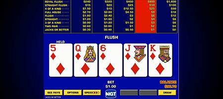 Video poker gameplay.
