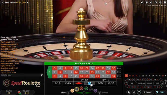 screenshot playtech live speed roulette